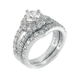 Size 6-9 Diamond CZ Wedding Ring Set .925 Silver